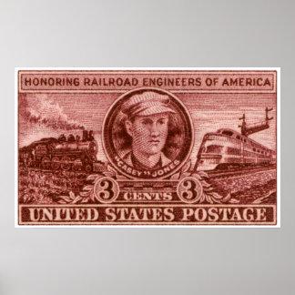 1950 Casey Jones Railroad Stamp Poster