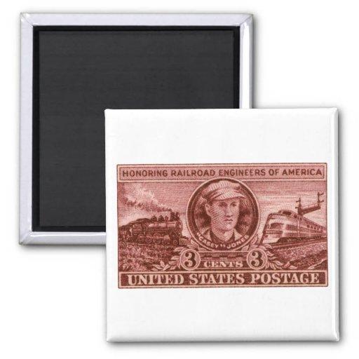 1950 Casey Jones Stamp 2 Inch Square Magnet