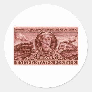 1950 Casey Jones Stamp Classic Round Sticker