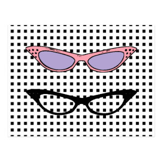 1950 Cats'-Eye Glasses Note Card Postcard