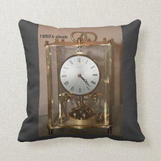 1950' clock..pillow throw pillow