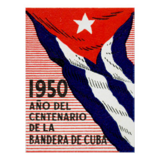 1950 Cuban Flag Poster