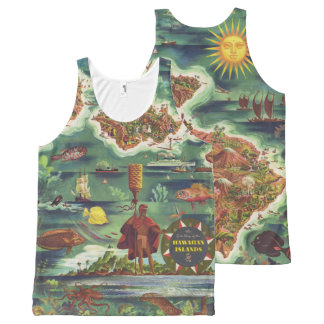 1950 Dole Map of Hawaii Joseph Feher Oil Paint All-Over-Print Tank Top