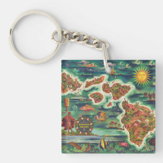 1950 Dole Map of Hawaii Joseph Feher Oil Paint Keychain