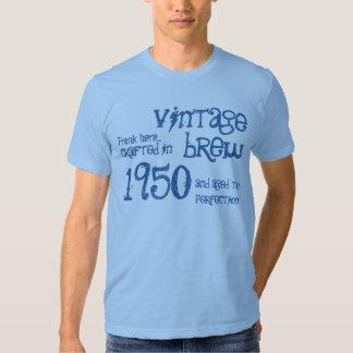 1950 dril de algodón azul V4 del Brew del vintage Remera