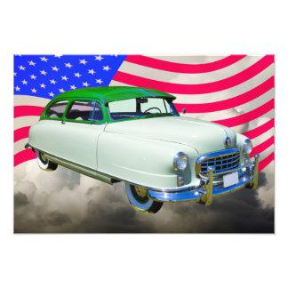 1950 embajador de Nash Car y bandera americana Arte Con Fotos