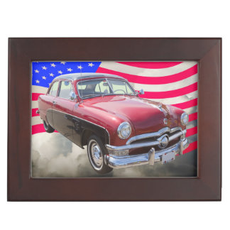 1950 Ford Custom Deluxe Car With American Flag Keepsake Box
