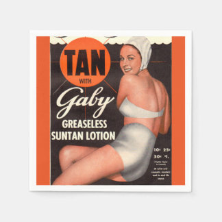 1950 Gaby Suntan Lotion ad Paper Napkin