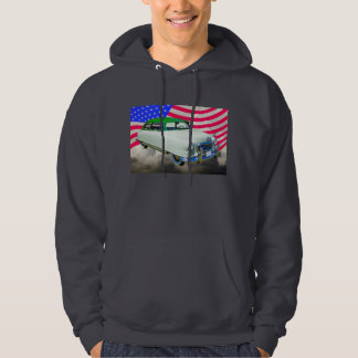 1950 Nash Ambassador Car And American Flag Hooded Pullover