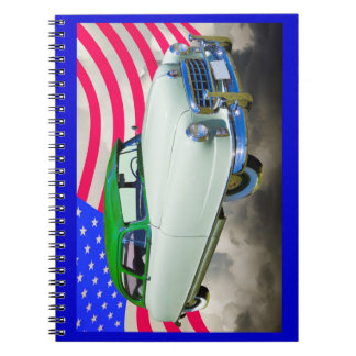 1950 Nash Ambassador Car And American Flag Notebook