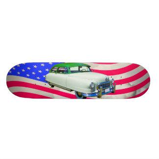 1950 Nash Ambassador Car And American Flag Skateboard Deck
