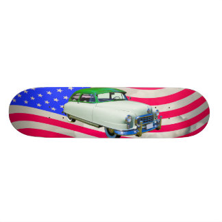 1950 Nash Ambassador Car And American Flag Skateboard Deck