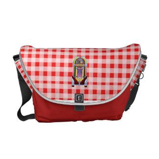 1950 Retro Jukebox on Red Plaid Messenger Bag