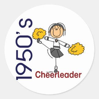 1950's Cheerleader Stick Figure Round Sticker