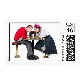 1950 s Soda Shop Couple Postage Stamp