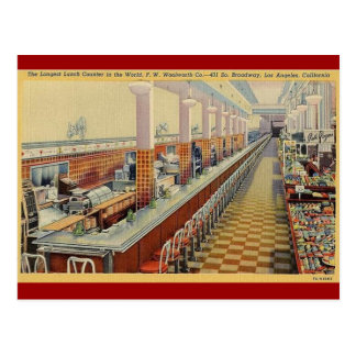 1950 s Vintage Woolworth s Lunch Counter Postcard