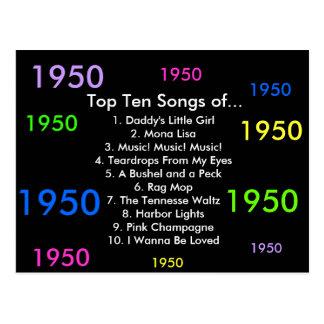 1950 Songs Postcard