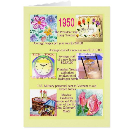1950 The Year You Were Born Cards