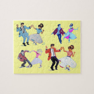 1950s 1960s classic rock and roll jive dancers jigsaw puzzle