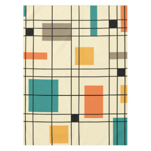 1950s Abstract Plaid Tablecloth