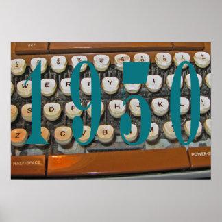 """1950's Antique Typewriter 19""""x13"""" Poster"""