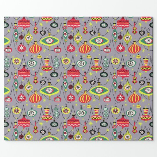 1950s atomic mid century modern christmas wrapping paper