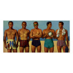 1950s Beach Dudes Poster