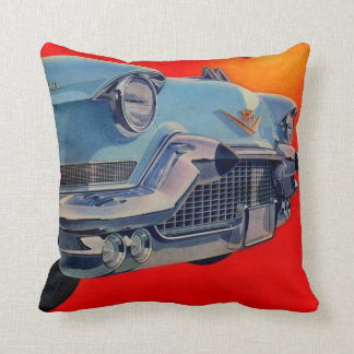 1950s blue Cadillac grille Throw Pillow