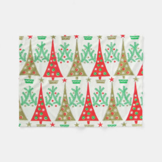 1950s Cartoon Christmas Tree Fleece Blanket