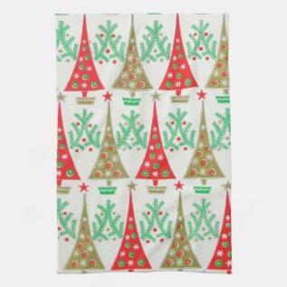 1950s Cartoon Christmas Tree Kitchen Towel at Zazzle