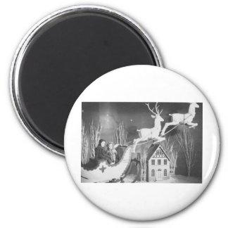 1950's Children on Santa's Sleigh 2 Inch Round Magnet