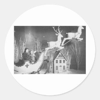 1950's Children on Santa's Sleigh Classic Round Sticker