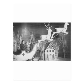 1950's Children on Santa's Sleigh Post Card