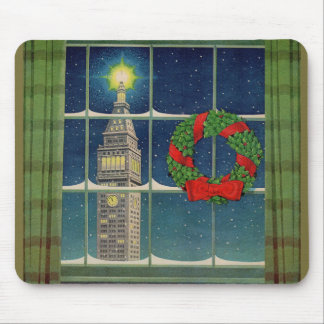 1950s Christmas in the city Mouse Pad