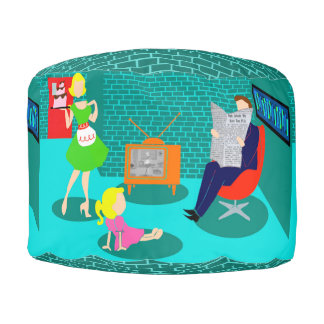 1950's Classic Television Round Pouf
