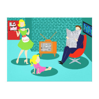 1950's Classic Television Stretched Canvas Print