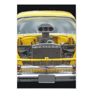 1950's Classic yellow auto with hood blower motor Card