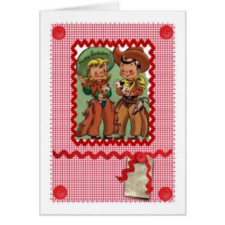 1950'S CUTE COWBOY FRIENDS RETRO GREETINGS CARD