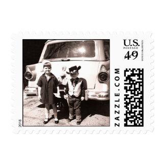 1950s Cute Kids Retro Vintage B&W Photography Stamp
