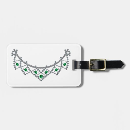 1950s Diamond Emerald Necklace Travel Bag Tag