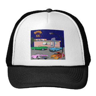1950s Diner Route 66 and Vintage Cars Trucker Hat