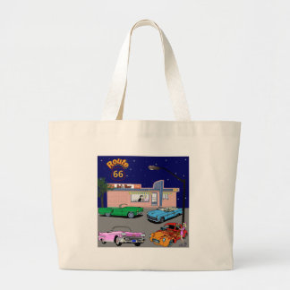 1950s Diner Route 66 and Vintage Cars Large Tote Bag