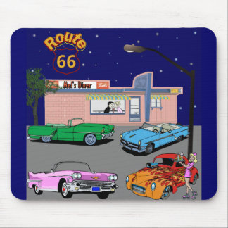 1950s Diner Route 66 and Vintage Cars Mouse Pad
