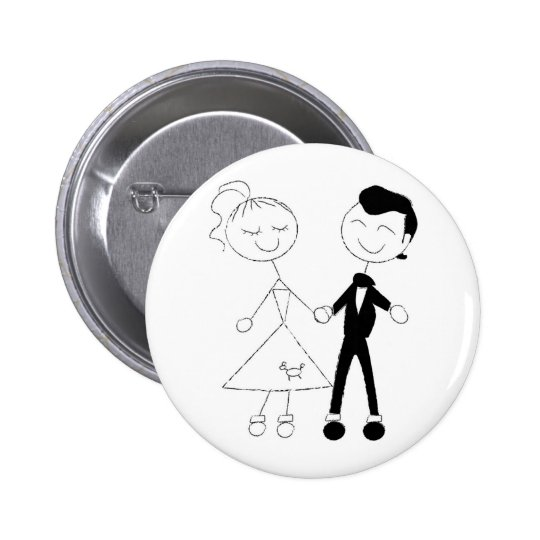 1950s Dressed Up Couple Pinback Button