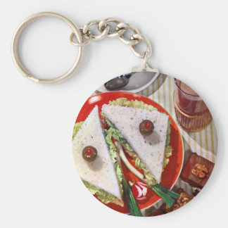1950's eyeball sandwich basic round button keychain