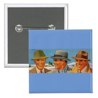 1950s fedora-wearing trio pinback button