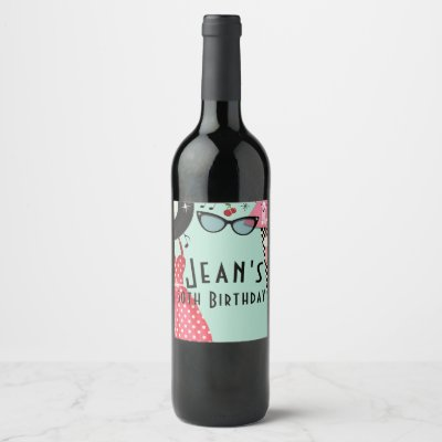 1950's Fifties Dress Up Retro Party Wine Labels