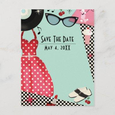 1950's Fifties Dress Up Retro Vintage Save Date Announcement Postcard