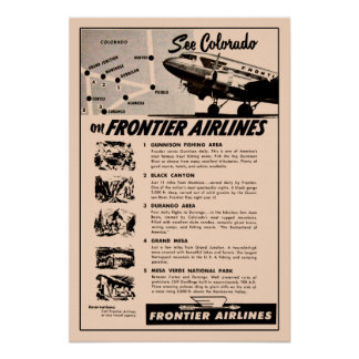 1950s Frontier Airlines Ad Reprint Poster