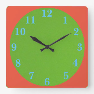 1950s Green And Orange Square Wall Clock